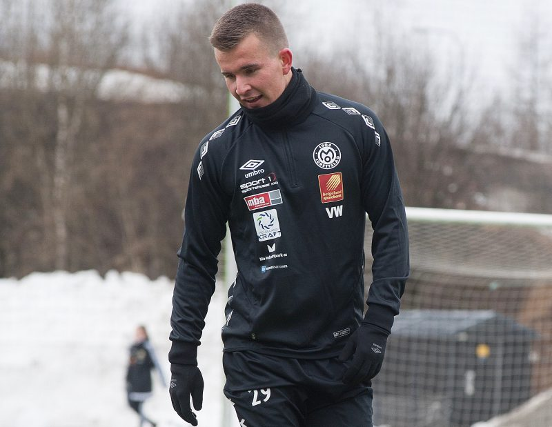 Tidligere Mo IL-spiller Vebjørn Walnum Vinje fikk i går sin a-lagsdebut fra start for Bodø/Glimt.