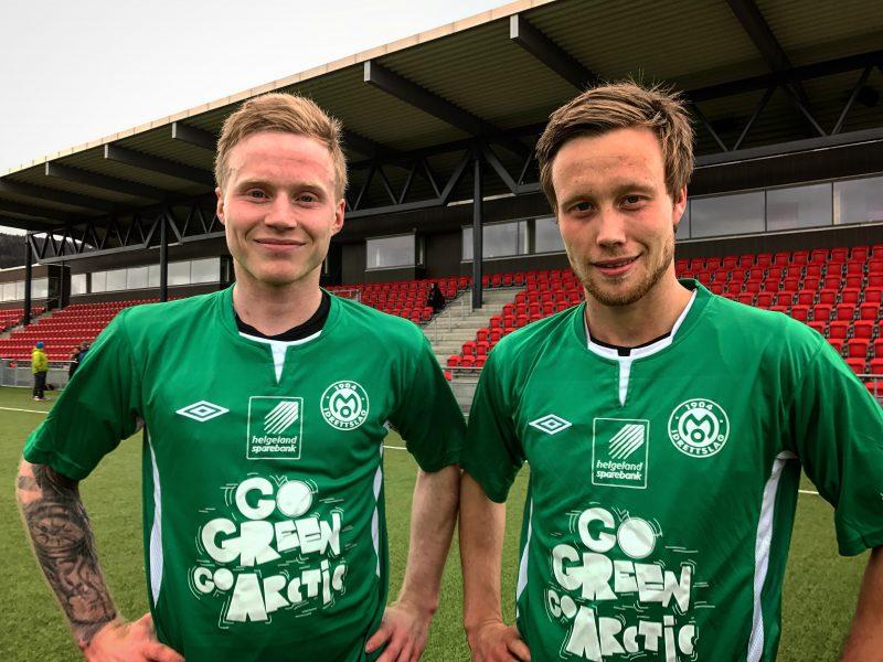 Niklas Bakksjø og Kim André Råde er sammen med resten av Mo IL Toppfotball, ambassadører for Rana-regionen som ledende innenfor det grønne skiftet.